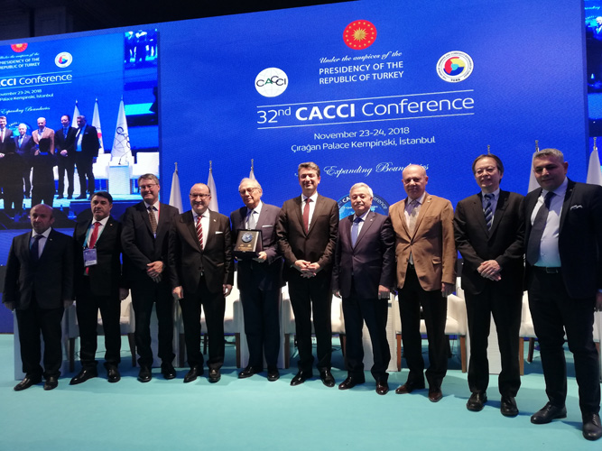 Iran Chamber of Commerce VP, Pedram Soltani (in the middle) poses for a picture with other guest speakers of the 32nd CACCI conference in Istanbul in November.