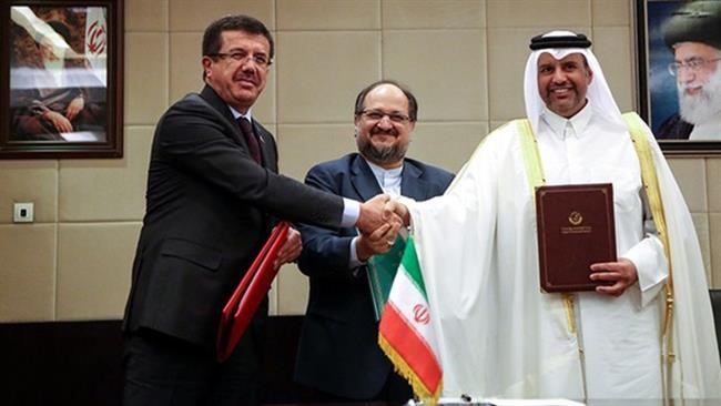 Iran, Turkey and Qatar have signed a trilateral agreement aimed at boosting trade with Doha amid a Saudi-led blockade on the Persian Gulf sheikhdom.