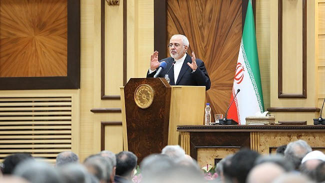 "Iran's Foreign Minister Mohammad Javad Zarif says the United States is addicted to sanctions, but the Iranians can pass through the current ""critical"" stage with national unity."