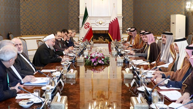Qatar's Emir Sheikh Tamim bin Hamad Al Thani says his country welcomes expansion of economic trade with Iran and would facilitate partnership with Iranian enterprises.