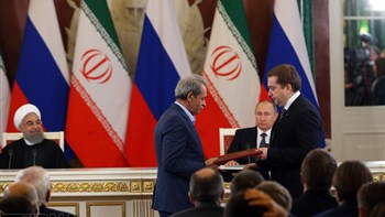 Iranian and Russian officials signed 14 memorandums of understanding (MOUs) on the sidelines of a meeting between Irans President Hassan Rouhani and his Russian counterpart Vladimir Putin in Moscow on Mar. 28.